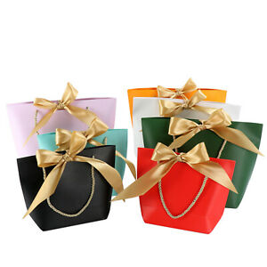 Paper Party Bags with Handle Ribbon Tie Recyclable Baby Wedding Favors Gift Bags