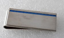 KENNETH COLE REACTION  SILVER TONE METAL W BLUE INLAID  MONEY CLIP NWOT