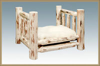 Wooden Raised Dog Beds, Small Dogs, Amish Made Rustic Log Cabin Pet Furniture