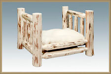 Log Cabin Dog Bed Rustic LOG Raised Beds for Small Dogs Amish Made Furniture