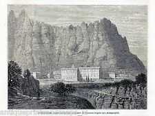 Antique print Barcelona Montserrat Spain 1869 grabado