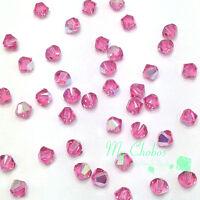 4mm Rose AB pink 209 AB Swarovski crystal 5328 XILION Bicone Bead Jewelry Making