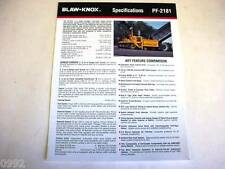 Blaw-Knox Pf-2181 Paving Machine Color Brochure