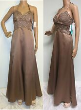 NWT CAMILLE LA VIE TAUPE BEADED LACE HALTER FORMAL DRESS PROM WEDDING GOWN SZ 4