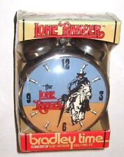 VINTAGE NEW 1980 LEGEND OF THE LONE RANGER ALARM CLOCK DOUBLE BELL BRADLEY TIME