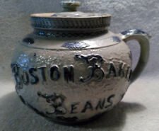 19th Century BOSTON BAKED BEANS Stoneware Pot probably by Whites Pottery, Utica