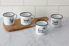 New Farmhouse Primitive 4 Farm Animal Enamelware Mug Cups Sheep Cow Pig Rooster