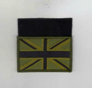 BRITISH ARMY COMBAT UNION FLAG BLACK ON OLIVE GREEN - WITH HOOK AND LOOP BACKING