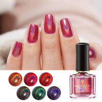 BORN PRETTY 6ml Nail Polish Holographic Laser Glitter Black Red Nail Art Varnish