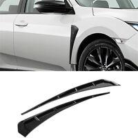 2x Glossy Black Front Fender Vents Trim For Honda Civic 10th Gen 2016-2020