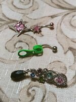 Lot of 3 Belly Button Ring Navel Set Piercing Body Jewelry Zipper Diamond Star