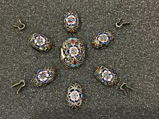 Antique small silver cloisonne enamel buttons or parts, possibly Russian (?)
