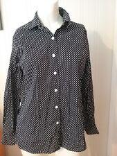 Women's Foxcroft Button Down Shirt Size SP Black White Polka Dot  Long Sleeve
