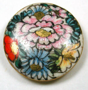 """Antique Vintage Satsuma Button Hand Painted Flowers with Gold Accents - 15/16"""""""