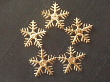 100 x 25mm GOLD SNOWFLAKES XM4 Scrapbooking Christmas Tree Cards Decorations