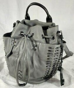 OLIVIA HARRIS by Joy Gryson Gray Leather Backpack Crossbody Shoulder Bag