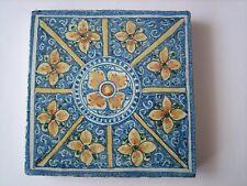 Mattonella riggiola  piastrella ceramica dipinta a mano (Faenza Deruta )