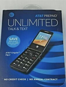 AT&T CINGULAR Prepaid FLIP 2 Cell Phone, 4GB, Gray SEALED