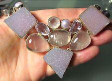 Plata 925 123gr Cuarzo Rosa. perlas, amatista Corte & Druzy 17 Pulgadas Collar.