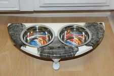 Raised Dog-Cat Feeding Table with 1pt Bowls - White & Bronze