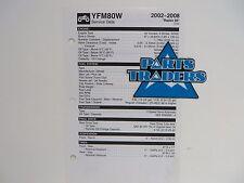 Yamaha Quick Reference Service Manual Spec Data Sheet YFM80 2004-2008 Raptor 80