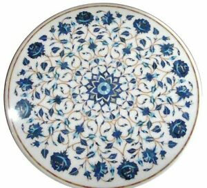 """23"""" white Marble coffee Table inlay Pietra dura stones Floral home furniture"""