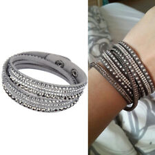 Women's Crystal Rhinestone Leather Cuff Wristband Wrap Bracelet Bangle Punk GRAY
