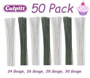 Floral Flowers 50pck Culpitt Florist Wire Coloured Gumpaste Sugar Sugarcraft