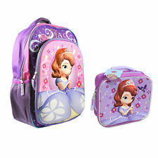"Backpack 16"" + Lunch Bag Tote Pop Out 3D Disney Sofia The First Violet New"