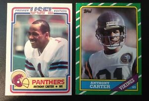 Topps Anthony Carter 1984 USFL & 1986 NFL rookie cards- Panthers/Vikings