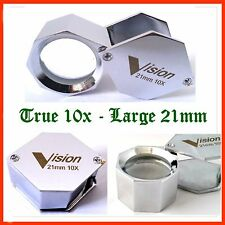 Diamond Gemstone Loupe 10x 21mm Large Hexagonal Jewelry Magnifier Inspection