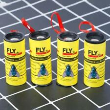 1pack of 4 Rolls Insect Fly Glue Paper Catcher Ribbon Tape Strip Sticky