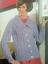 **Vintage Knitting Pattern**Ladies Chunky Jacket**Big Collar**Cable**