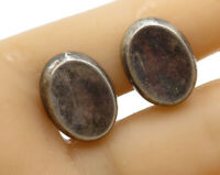 RALPH LAUREN 925 Sterling Silver - Vintage Concave Oval Clip On Earrings - E2516