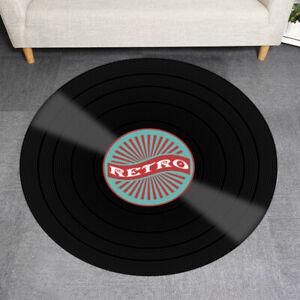 3 Sizes Retro 3D Record Round Floor Rug Carpet Home Decor Living  Kid