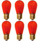6 Bulbs 11S14 Red 120 Volt S14 E26 Medium Base 11 Watt 11S14TR for Signs etc.