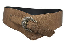 Women Wide Fashion Western Belt Bronze Brown Faux Leather Hip Waist Plus XL XXL