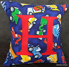 LETTER CUSHION PILLOW COVER BOYS BLUE CONSTRUCTION TRUCKS PERSONALISED GIFT