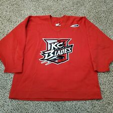 Vintage 90's Kansas City Blades Bauer Pro Fight Strap IHL Hockey Jersey Size 56