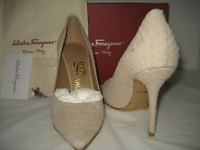$895 NEW Salvatore Ferragamo US 7 W Susi Reptile Leather Pumps High Heels Shoes
