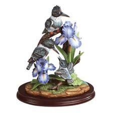 "Andrea Sadek Porcelain 13""H Limited Kingfisher Birds w/Blue Iris Wood Base Nib"