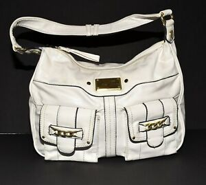 Marc Fisher White Faux Leather with 2 Front Snap Flap Pouch Pockets Shoulder Bag