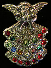 Mother's & Grandmother's Birthstone Angel Pin Brooch Silver Plate Large