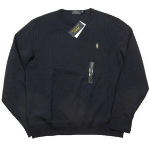 Polo Ralph Lauren Men's Aviator Navy Black Crew-Neck Double Knit Pullover Sweats