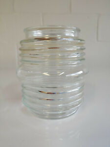 """Vintage Ribbed clear Outdoor Light Cover 4 1/2"""" tall + 3 1/8 wide for bolts"""
