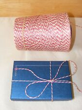Bakers twine, 10m, red & white string, Christmas present gift wrap or craft use