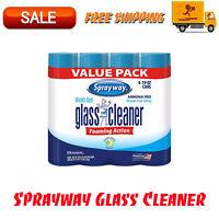 4pk Sprayway Glass Cleaner 19 oz, Ammonia-Free Streak-Free Clean Fresh Fragrance