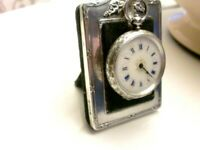 V. G.C Antique  SILVER LADIES FOB WATCH 1890 SWISS WORKING WITH KEY+ WATCH STAND