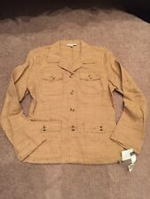 CAbi Safari Tweed Jacket Caramel Tan size 10 Large NWT