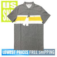 Calvin Klein Men's NWT 100% Cotton Essential Yellow Stripe Grey Polo Shirt